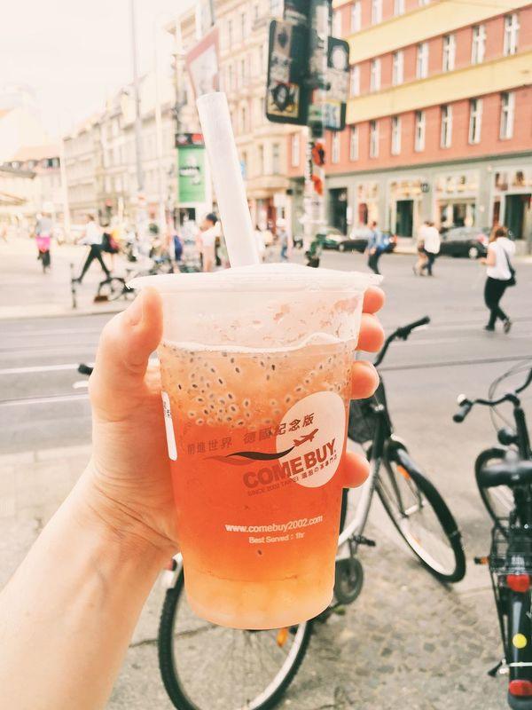 Bubble Tea Drinking Drink Take Away Ice Tea Street Photography