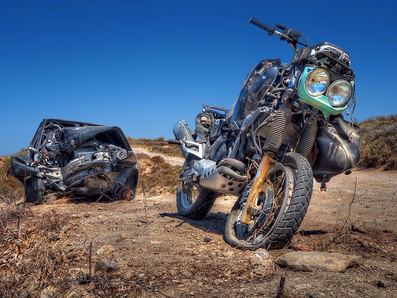 Beautiful stock photos of motorcycle, Abandoned, Blue, Car, Car Accident