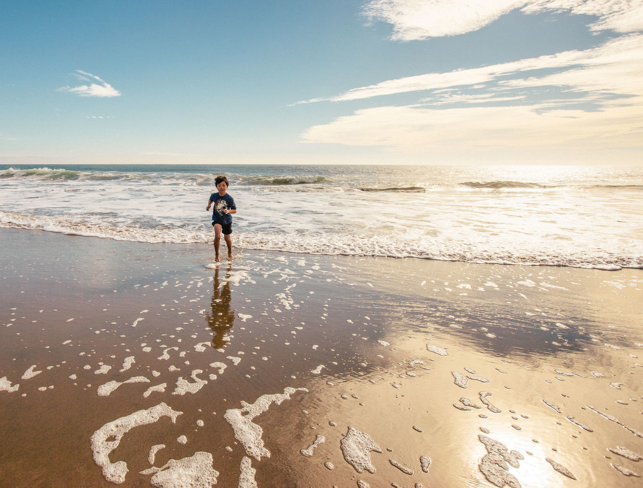 Boy Running Waves Laughing Having Fun Chase Beach Summer Family The Moment - 2015 EyeEm Awards