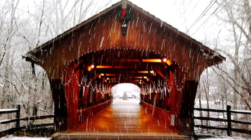 Winter Cold Temperature Snow Bridge - Man Made Structure Weather Architecture Snowing No People Outdoors Covered Bridge Day Tree Christmas Lights!  Snowyday Christmas Time Outdoors Photograpghy  Eyem Gallery Irwin Collection Olmsted Falls Ohio, USA Shades Of Winter