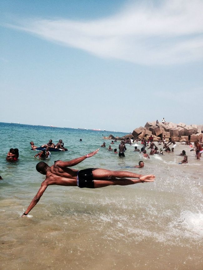 beauty Sea Swimming Jump Athletics