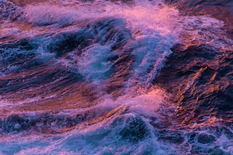 At Sea High Waves Pastel Power Power In Nature Rose Pink Sea Surface Sunset On The Water