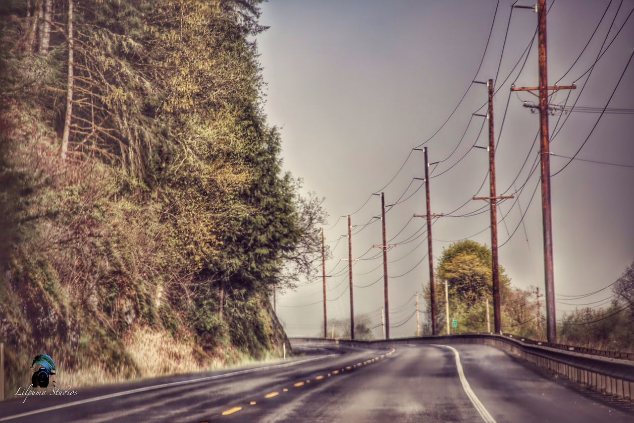 tree, road, transportation, cable, day, outdoors, the way forward, electricity pylon, connection, nature, no people, sky