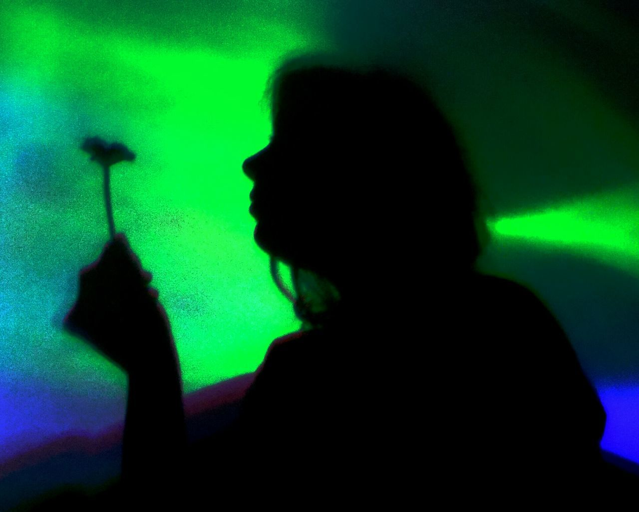 silhouette, music, indoors, real people, one person, arts culture and entertainment, green color, lifestyles, shadow, musician, illuminated, musical instrument, rock music, close-up, day, people
