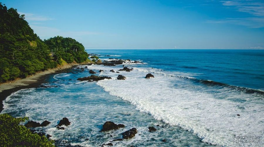 Sea Horizon Over Water Beach Scenics Rock - Object Sky Beauty In Nature Water Nature Tranquil Scene Tranquility No People Blue Outdoors Wave Day Travel Destinations Adrianureña Costarica Costaricagram