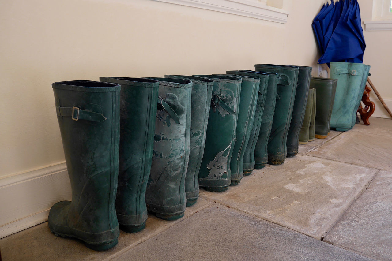 Boots Diagonal Lined Up Overshoes Rain Boots Rain Rubbers Rubber Boots Rubbers Tile Floor Umbrellas Wellies  Wellington Boots