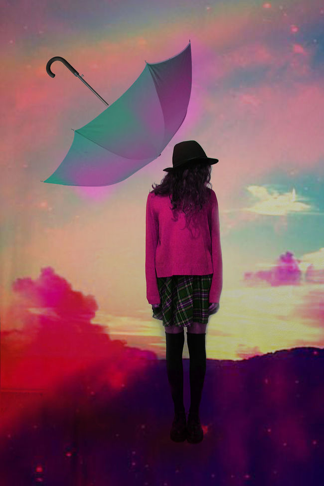 This one is about loneliness and being alone even though you push people away,where the reversed umbrella is a figure of people. The reason why there are these colours is because the personal peace, personal silence, an utopic place where you feel safe and yet happy, somehow, regardless all your concerns in your life. Color Colorful Conceptual Contemporary Girl Lifestyles Loniless Photography Psychedelic Psychedelicdreams Silence Umbrella Utopia