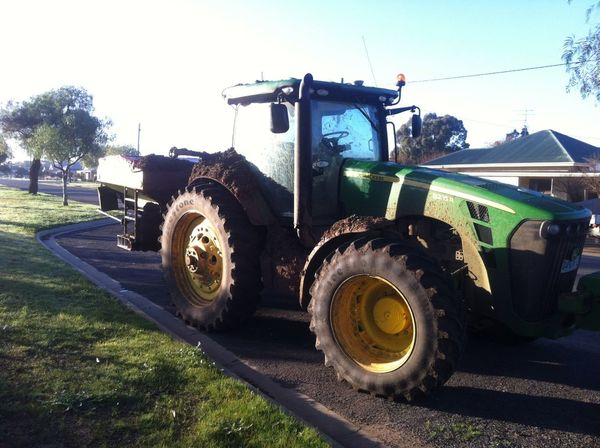 the heavy going vehicle. The farmers down the road!