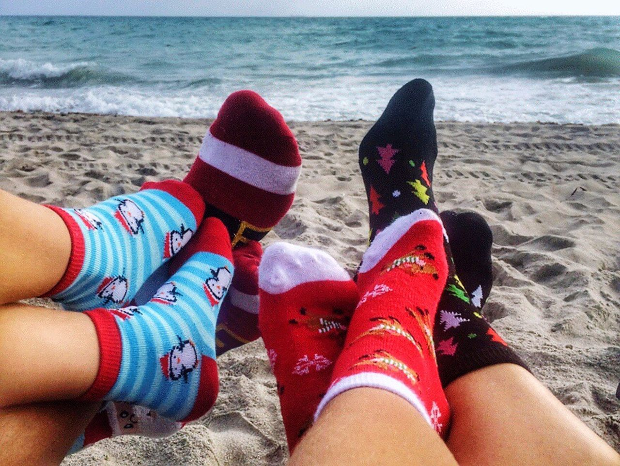 TK Maxx Socksie Leisure Activity Day Low Section Sea Lifestyles Outdoors Real People Water Togetherness Nature Human Body Part People Ocean Beach Feet Socks Winter Christmas