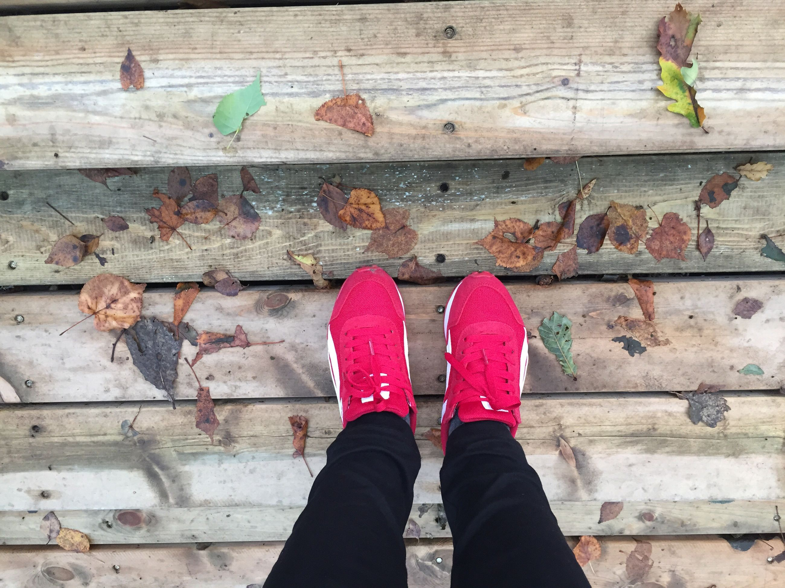 low section, person, standing, shoe, personal perspective, human foot, lifestyles, footwear, red, pink color, weathered, outdoors, in front of