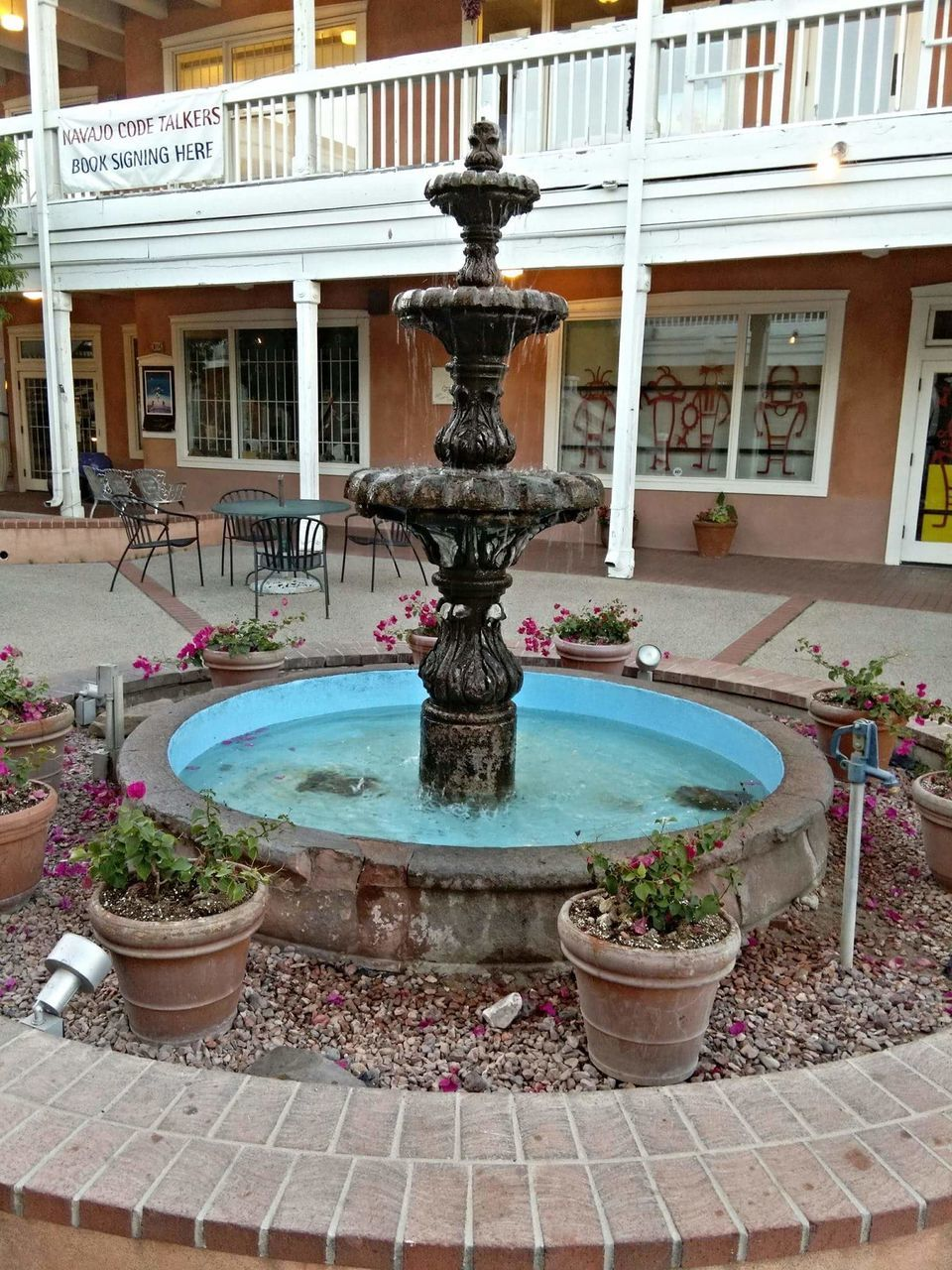 fountain, water, building exterior, architecture, outdoors, swimming pool, built structure, drinking fountain, day, no people