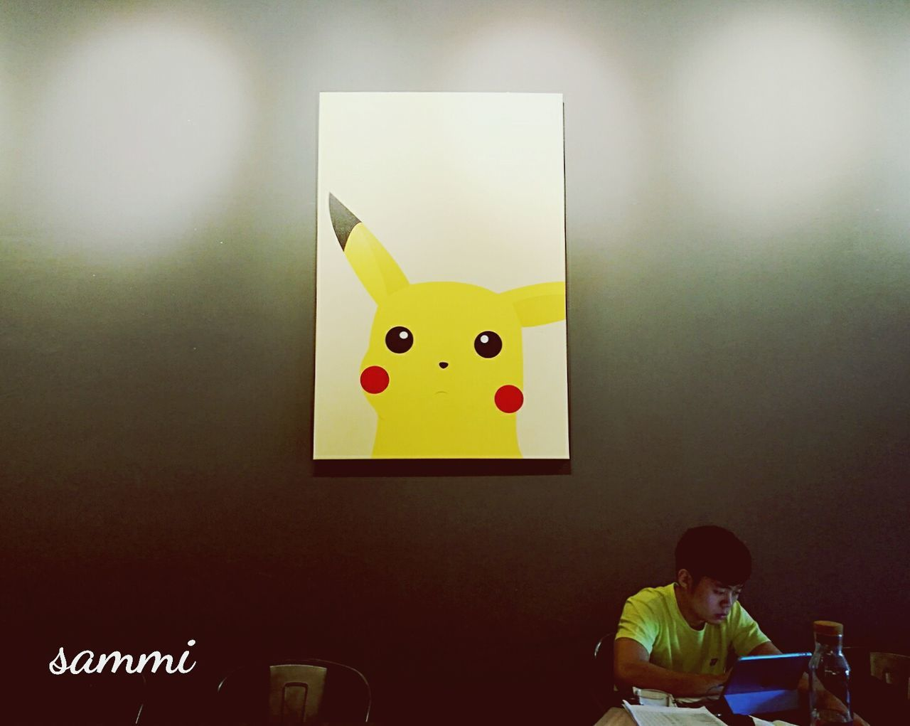 Indoors  One Person People Randomshot Pikachu Picture Cafehopping