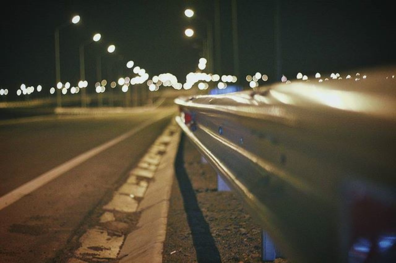 night, illuminated, railroad track, no people, outdoors