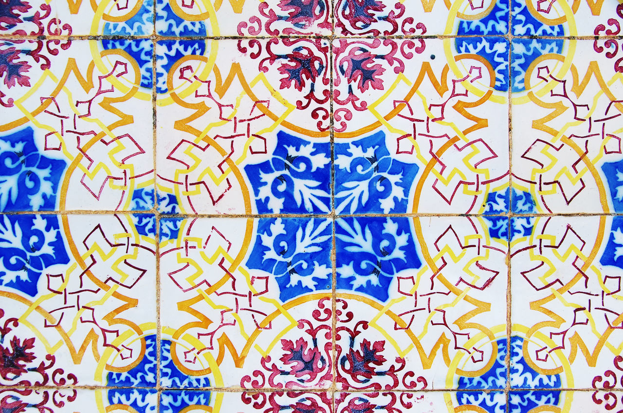 Detail of traditional tiles, Portugal Architecture Backgrounds Blue Close-up Design Full Frame Multi Colored Painted Image Pattern Tile