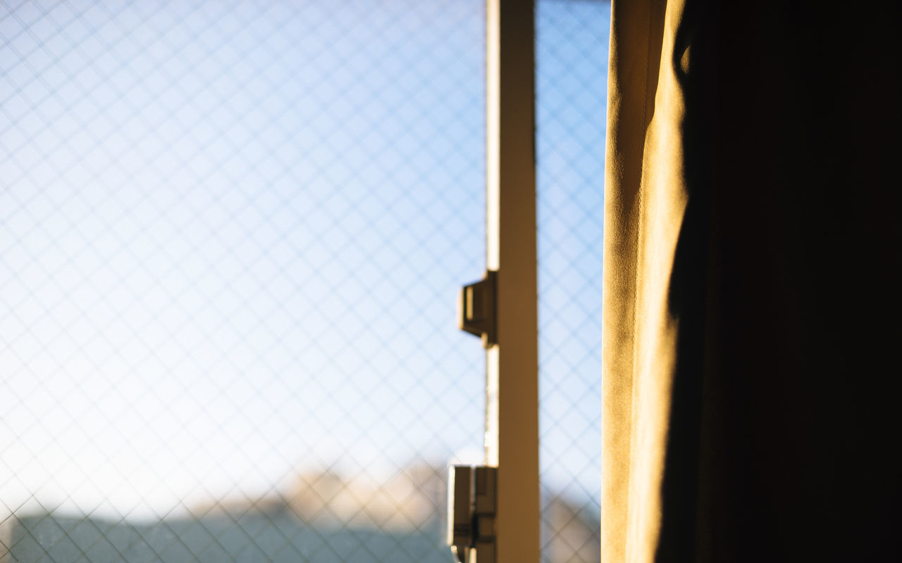 Blue Blue Sky Close-up Curtain Day Drapes  Indoors  Light Light And Shadow Lock Metal Morning Morning Light Morning Sky No People Protection Sky Spring Window