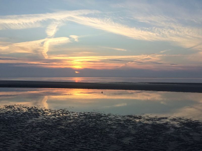 Sunset, Amrum Sunset Sky Nature Tranquil Scene Scenics Water Beauty In Nature Tranquility Reflection No People Sea Cloud - Sky Outdoors Horizon Over Water Day North Frisian Islands Landscape Germany