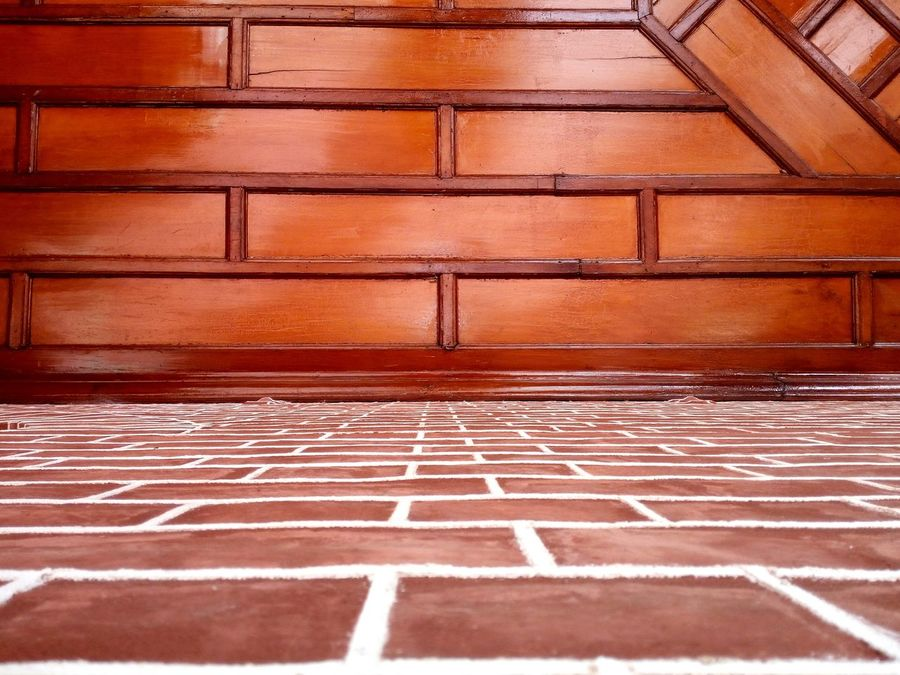 Ceiling And Wall Brick Wall Wooden Ceiling Wooden Pattern Courthouse NSW Australia Architecture No People