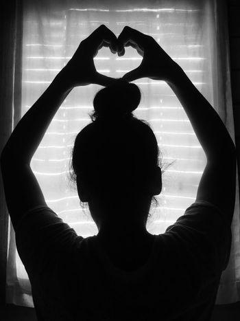 Silhouette Beautiful Woman love Indoors