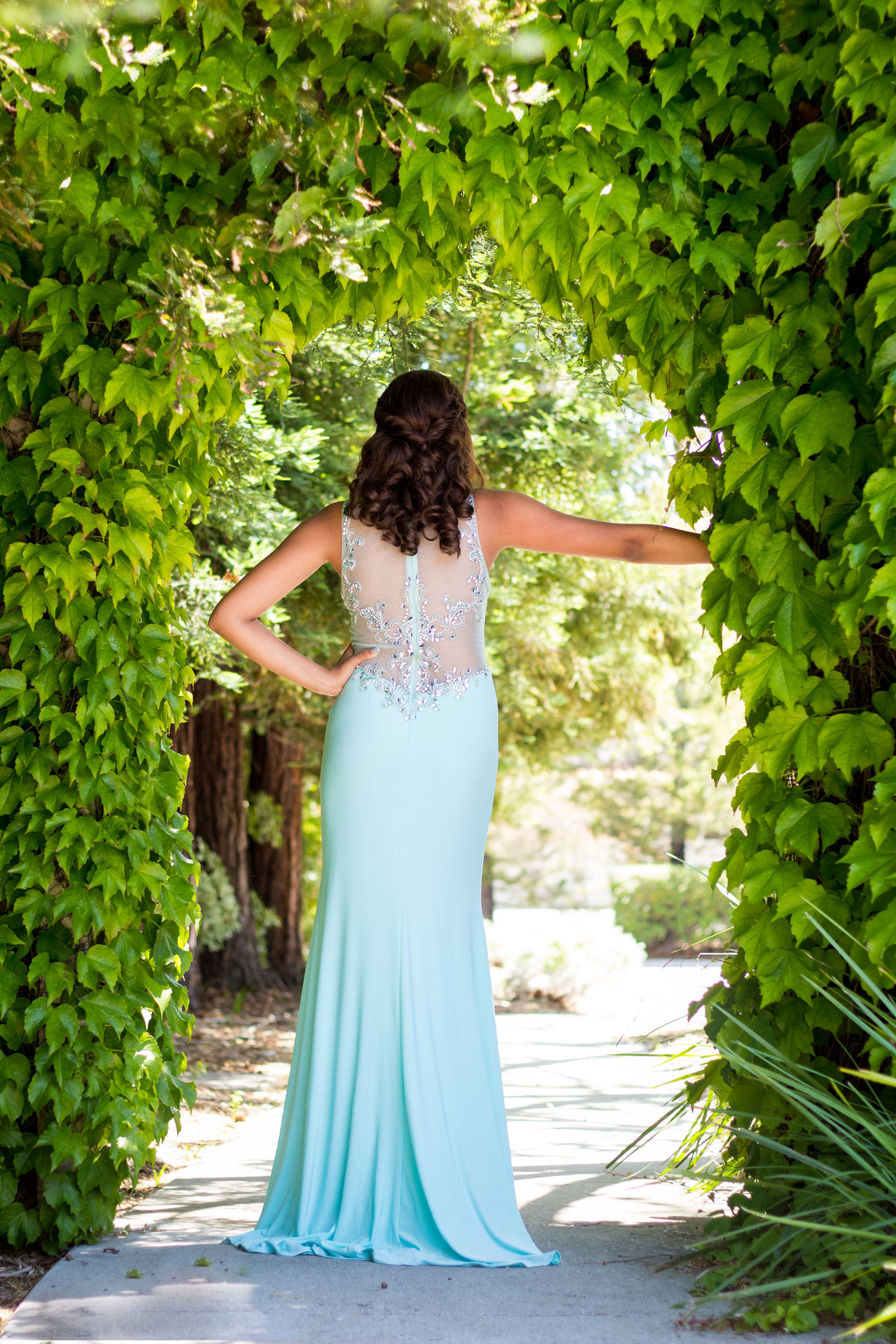 Beautiful stock photos of prom, rear view, dress, brown hair, only women
