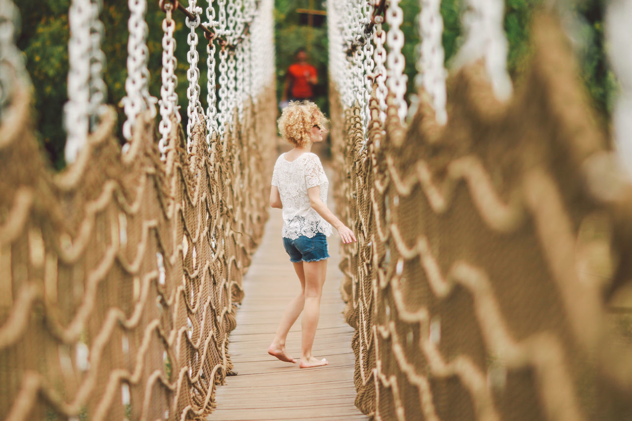 Beautiful stock photos of woman, 25-29 Years, Barefoot, Blond Hair, Bridge - Man Made Structure