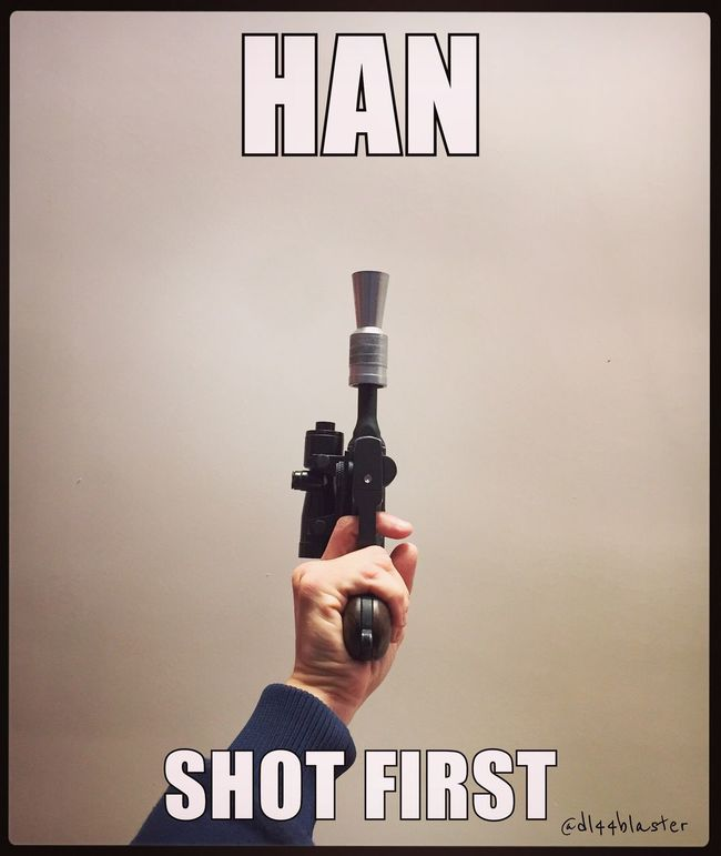 Yes he did! In both SW & ESB. Vader was a little more prepared than Greedo unfortunately. Rogue On A Star Wars Story Chewie Hansolo Anewhope TheForceAwakens Theempirestrikesback Bb8 Rogue One Thefirstorder Dl44blaster Dl44 Starwars Han Shot First George Knows It's Ture