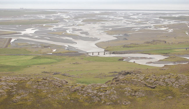 Aerial View Bridge Coastline Day Delta Horizontal Iceland Landscape Mountain Nature No People Outdoors Physical Geography River Road Scenics Sea
