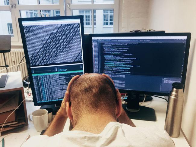 developer's life :) Code Coding Frustration Man Monitor Startup
