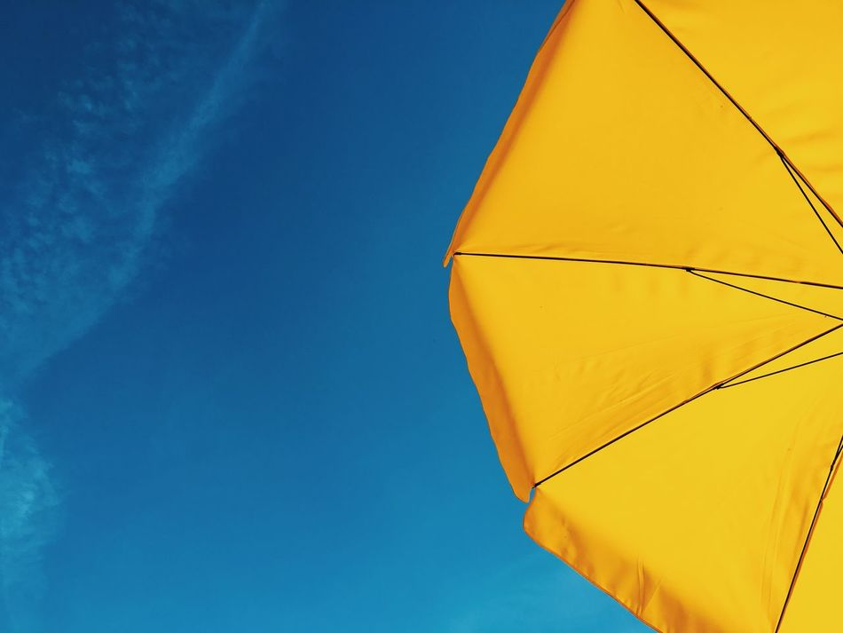Sommerfeeling Bottoms Up Colofulsky Colorful Contrasts Day Good Weather Happy High Contrast Low Angle View No People Outdoors Sky Skyporn Summer Summer Views Summertime Sun Umbrella Sunscreen Umbrella Vibrant Color Weather