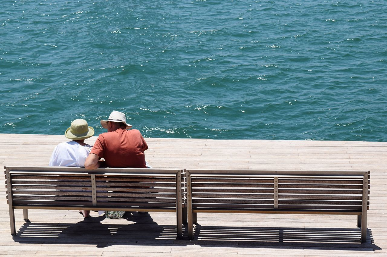Bench Two People Hat Rear View Water Senior Men Sitting Couple Barcelona Men Adult Sea Nature Outdoors Togetherness Only Men People Adults Only Hats Love Friendship Friends Tourism Tranquility Lines And Shapes