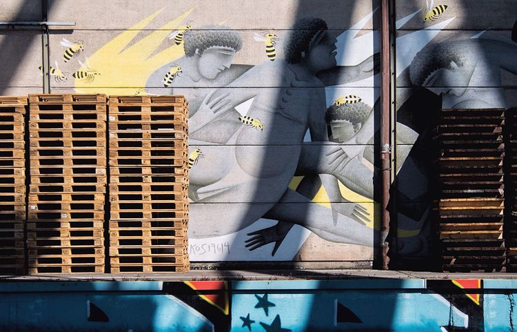 Light And Shadow Can You Find The Hidden...? Streetart Graffiti Behind The Scene Melancholic Cityscapes Art Is Everywhere Streetphotography Mural Harbor