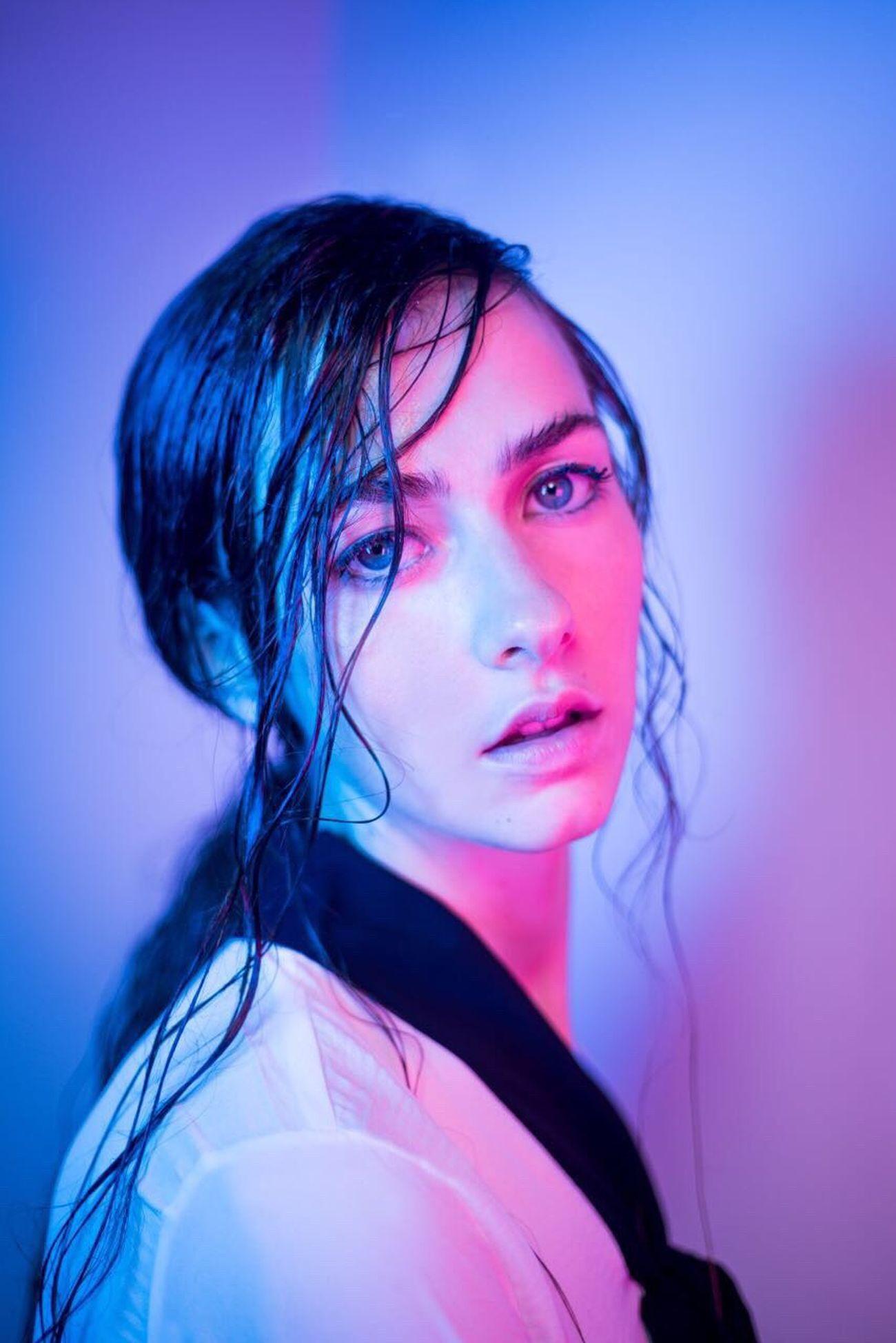 From my: Neon Demon Studio Shot Make-up Portrait Neon Lit Model Women Around The World This Week On Eyeem TheWeekOnEyeEM