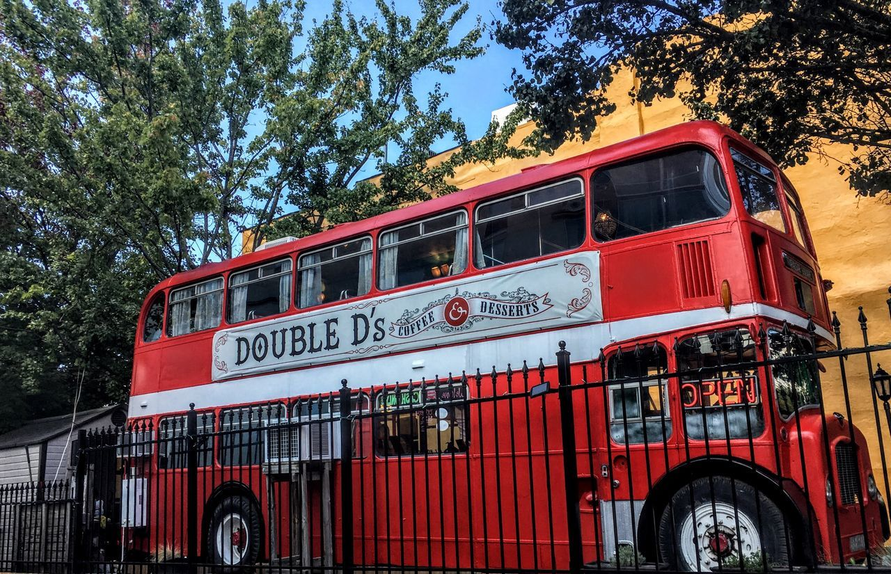 Double Decker Eatery Red Tree Transportation Mode Of Transport Outdoors Text Fire Engine No People Public Transportation Day Sky Restaurant Scene JustGPhotos North Carolina Mobile Diner