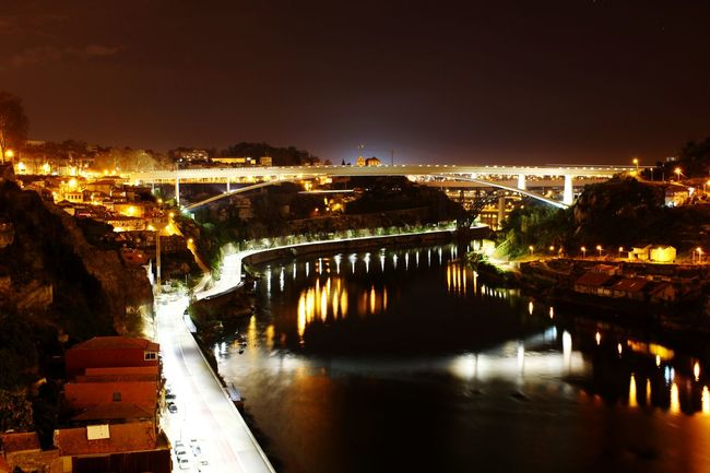 From one bridge to the other. Overnight Success Bridge Night River Douroriver Douro  Portugal Water Waterreflections  Water Reflections City Landscape Rio Riodouro