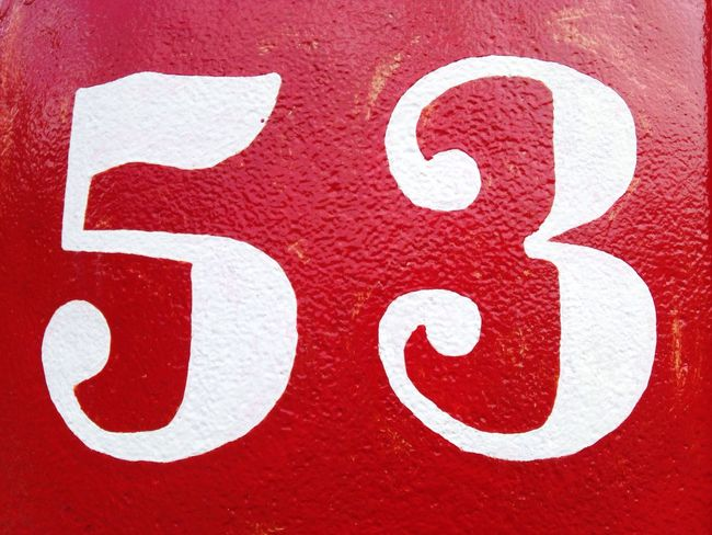 White On Red 53 Number Numbers Number 53