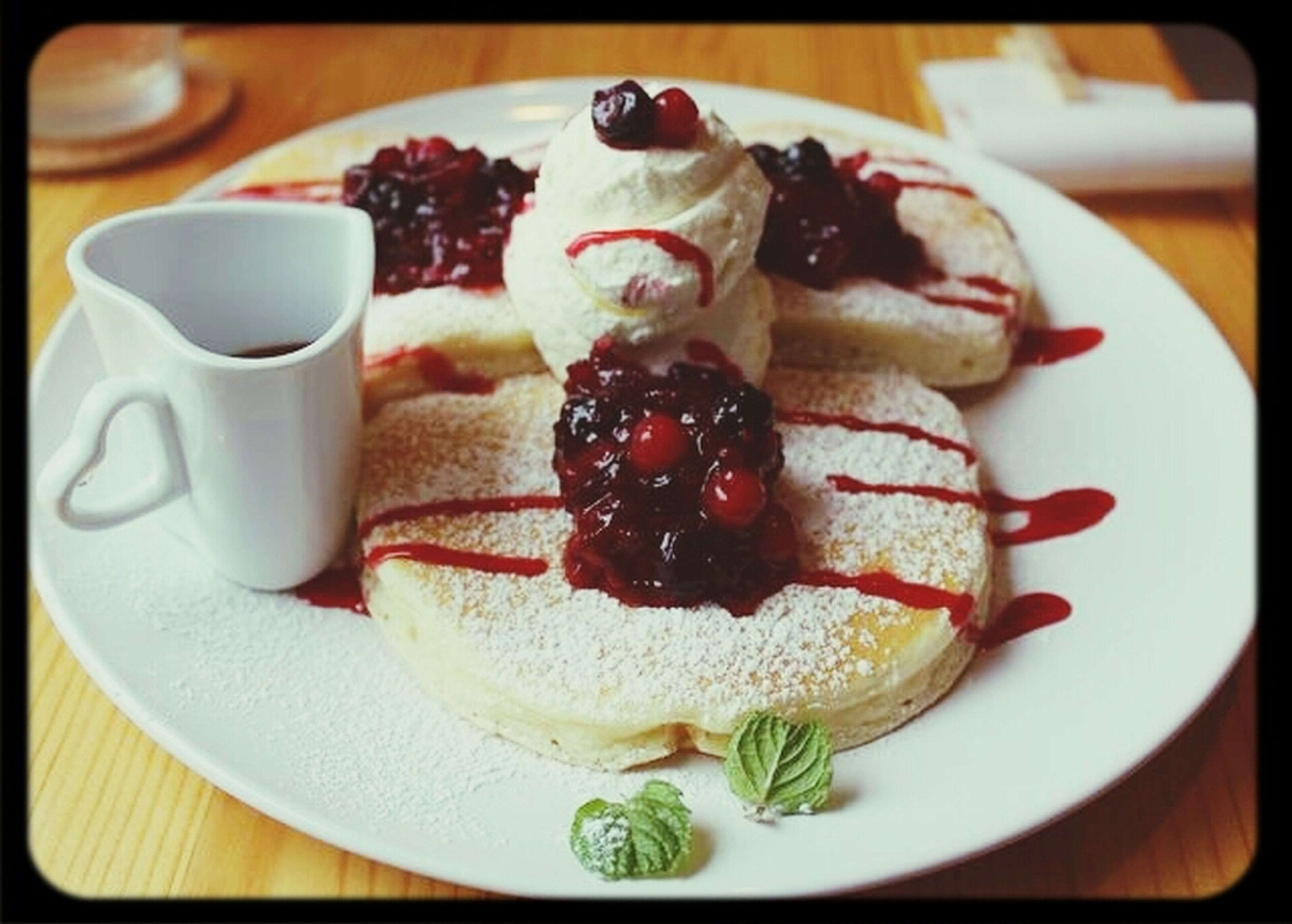 food and drink, food, indoors, freshness, sweet food, ready-to-eat, dessert, plate, still life, indulgence, cake, unhealthy eating, table, serving size, close-up, temptation, transfer print, fruit, breakfast