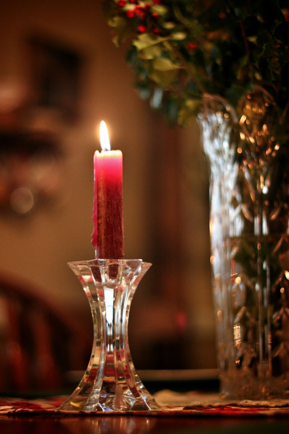 Christmas Time Candlelight Holiday Cheer Relaxing Moments Dining Room Table
