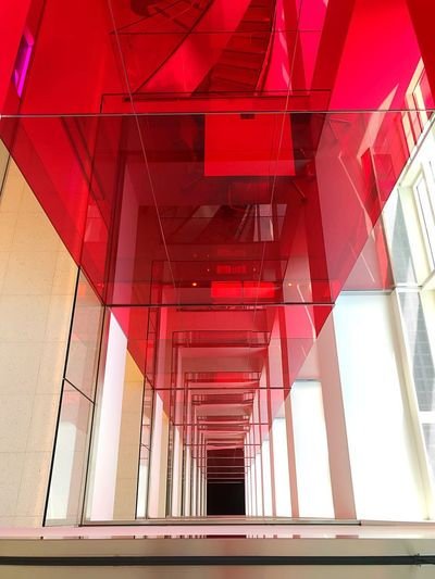Built Structure Architecture Red Modern No People Day Low Angle View Indoors  Symmetry Building Exterior Stairs Staircase Bloomberg Building Perspective