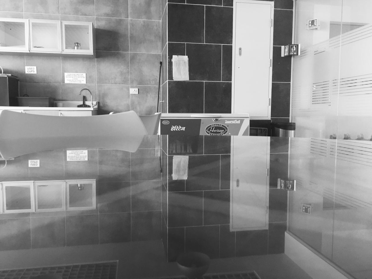 Reflection Black And White Monochrome Photography Glasses Reflect Indoors  No People Illuminated