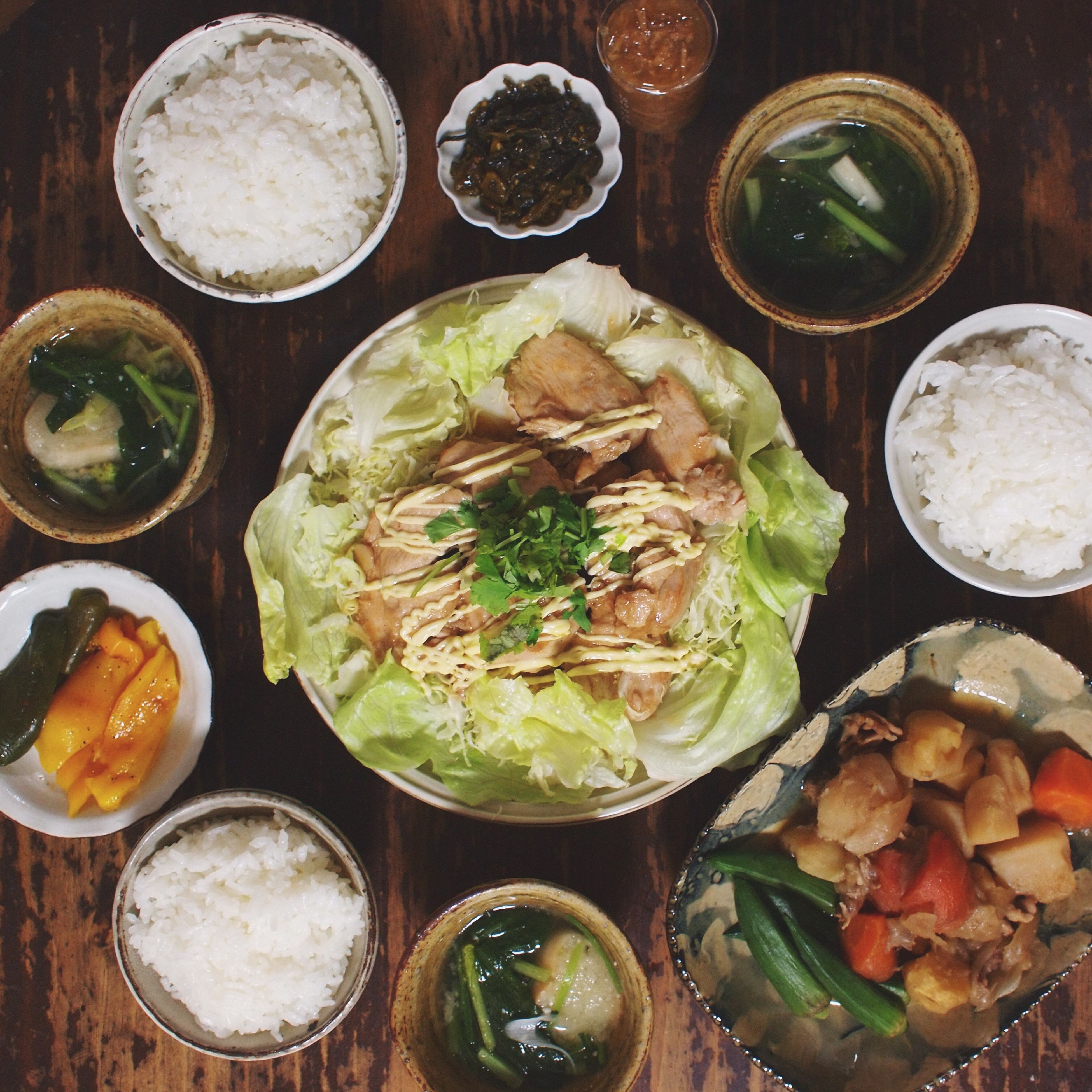 food and drink, food, ready-to-eat, indoors, freshness, plate, table, still life, healthy eating, bowl, meal, high angle view, serving size, meat, vegetable, served, indulgence, directly above, close-up, soup