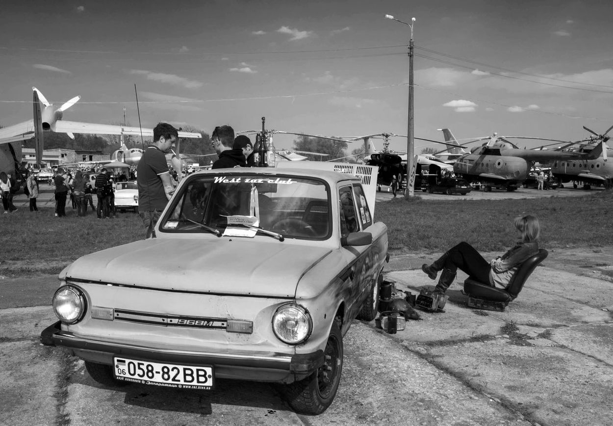 Old Car Fest. Zaporozhets ZAZ-968 Antique Blackandwhite Car Classic Cloud - Sky Day Domestic Animals Farsta Freight Transportation Journey Kiev Land Vehicle Mode Of Transport Monochrome Old Outdoors Person Retro Road Sky Transportation Ukraine Vintage Zaporozhets ZAZ-968