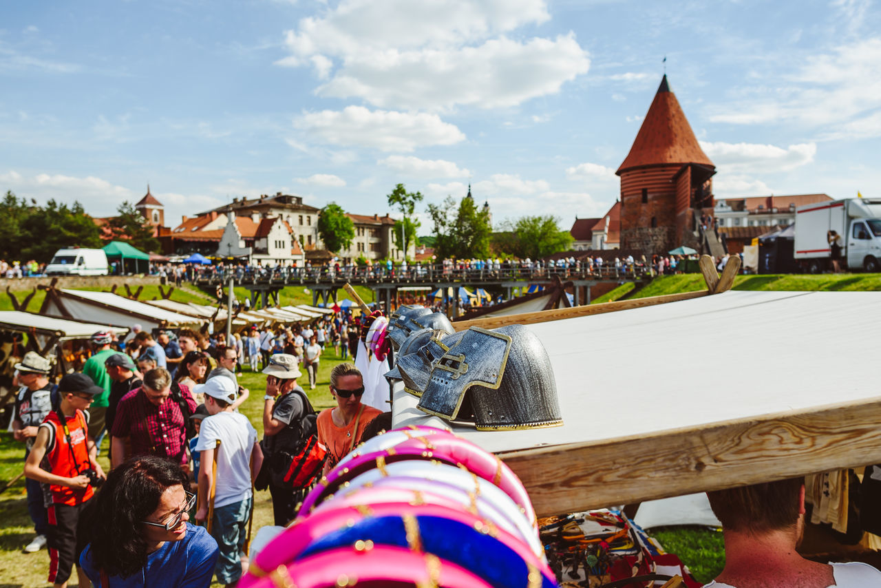 Kaunas Hanseatic days 2017 Architecture Building Exterior Built Structure Cloud - Sky Day Fair Helmet Large Group Of People Leisure Activity Lifestyles Men Nature Outdoors People Place Of Worship Real People Religion Sky Spirituality Travel Destinations Women
