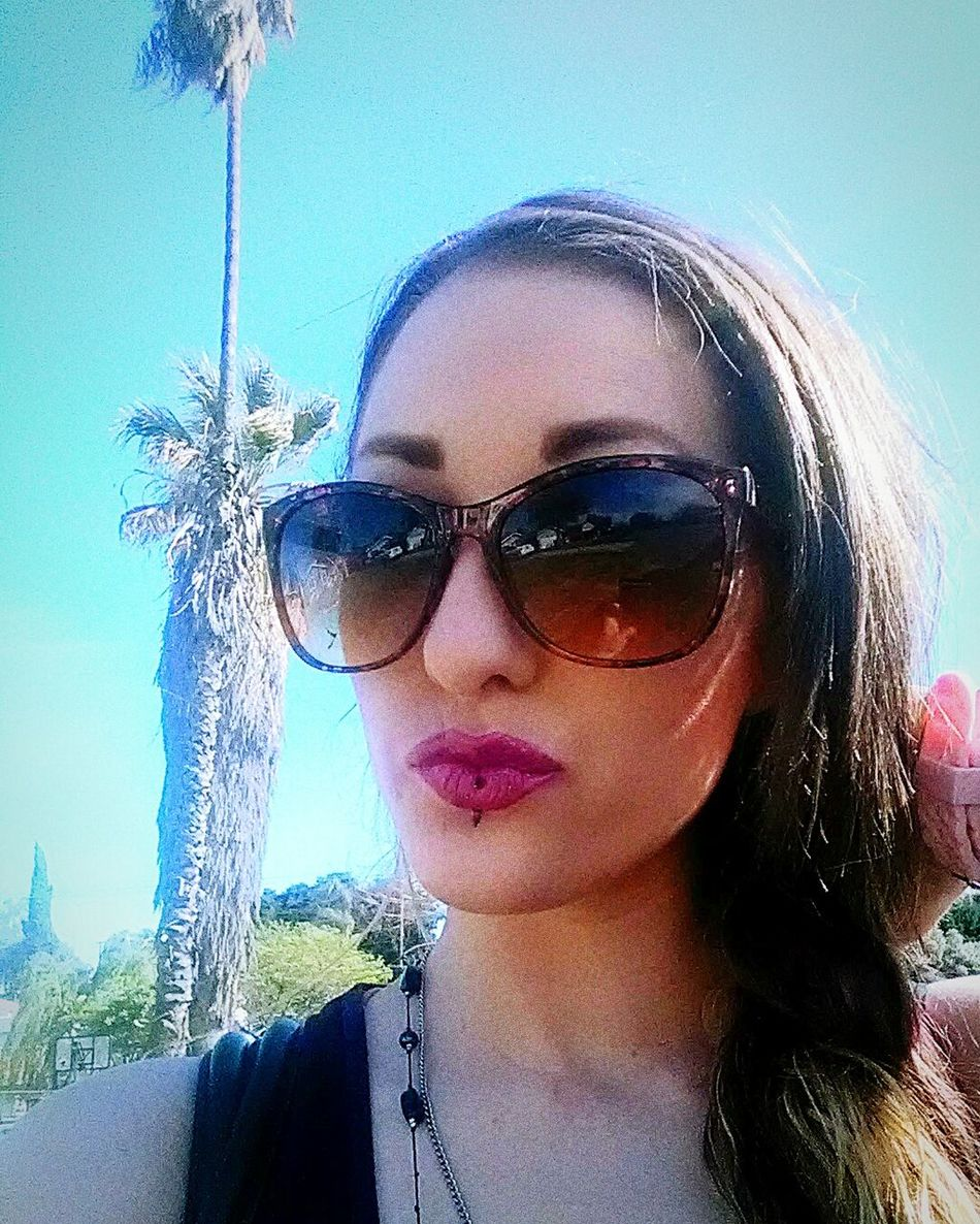 Sunglasses Portrait Beautiful Woman Sky Headshot Close-up Beauty Beautiful People Enjoying Life White Girls Gangster Of Love Long Hair LoveLife❤️ Palm Trees So Cal Blue Skies Audrey XO