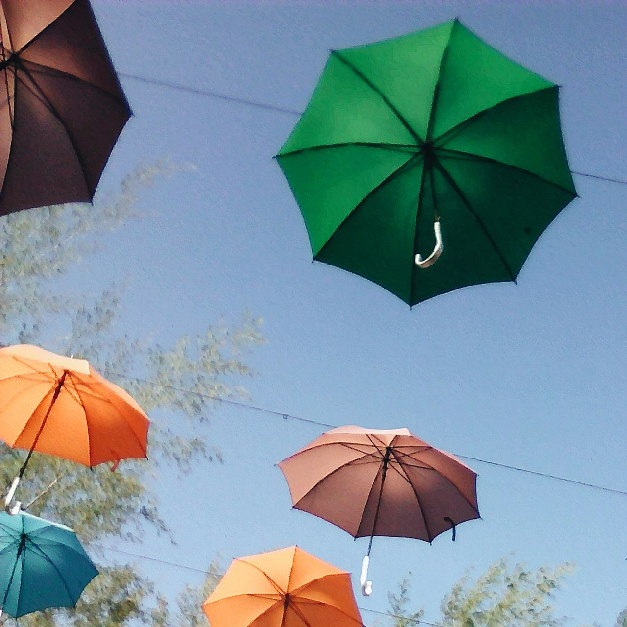 umbrella, protection, rain, weather, shelter, summer, blue, day, multi colored, outdoors, nature, clear sky, no people, close-up, sky