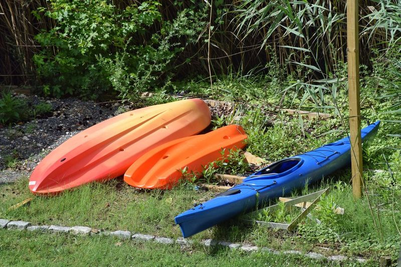Day No People Outdoors Nature Nautical Vessel Grass Kayak Oar Summer Boats