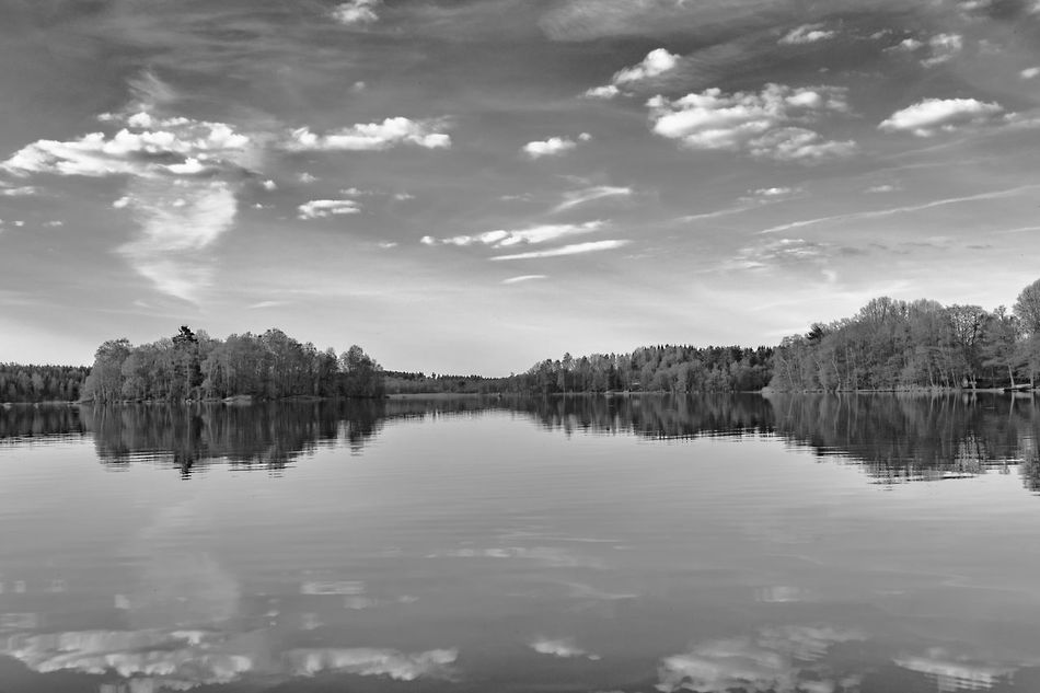 Beauty In Nature Black And White Black And White Photography Cloud - Sky Day Exceptional Photographs First Eyeem Photo Hello World Idyllic Lake Landscape Miles Away Nature No People Outdoors Reflection Scenics Sky Tranquil Scene Tranquility Tree Water Waterfront