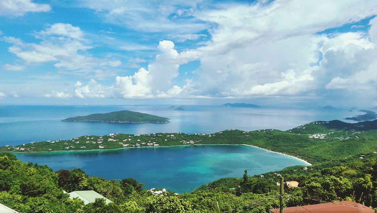 View of Megan Bay in St. Thomas. St Thomas Megan Bay Island Water Ocean Caribbean Sea Blue Turquoise View Scenic Lookout Spectacular Vantage Point Outlook Mountain Top Banana Rum Beautiful Aquatic Us Virgin  Islands