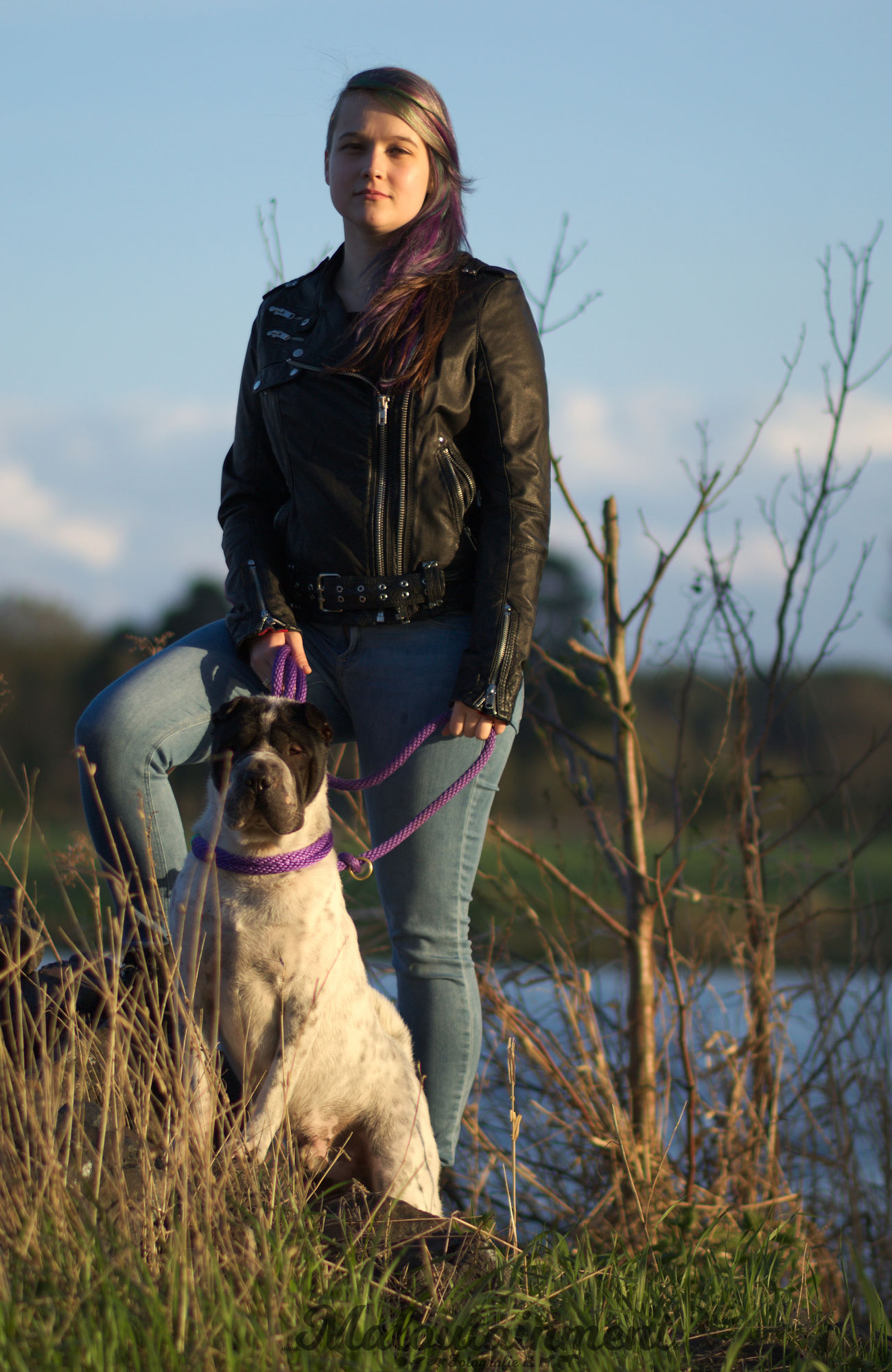 Dog Pets One Animal One Person One Woman Only Standing People Happiness Full Length Adults Only Outdoors Friendship Women Looking At Camera River Frau Hundefotografie Dog Photography Shar Pei Hund Hannover Celle Domestic Animals Adult Live For The Story