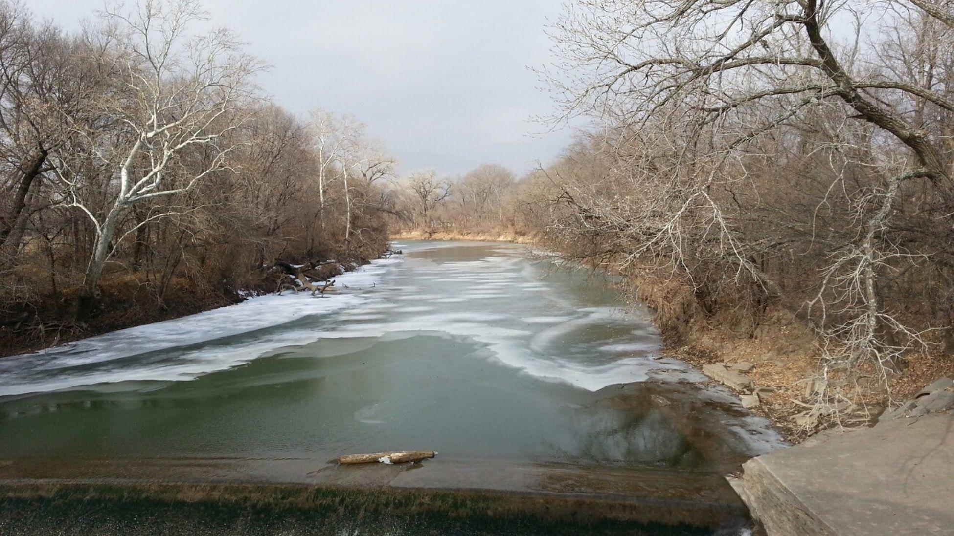 Cottonwood River at Rainbow Arch bridge, Emporia River Wintertime
