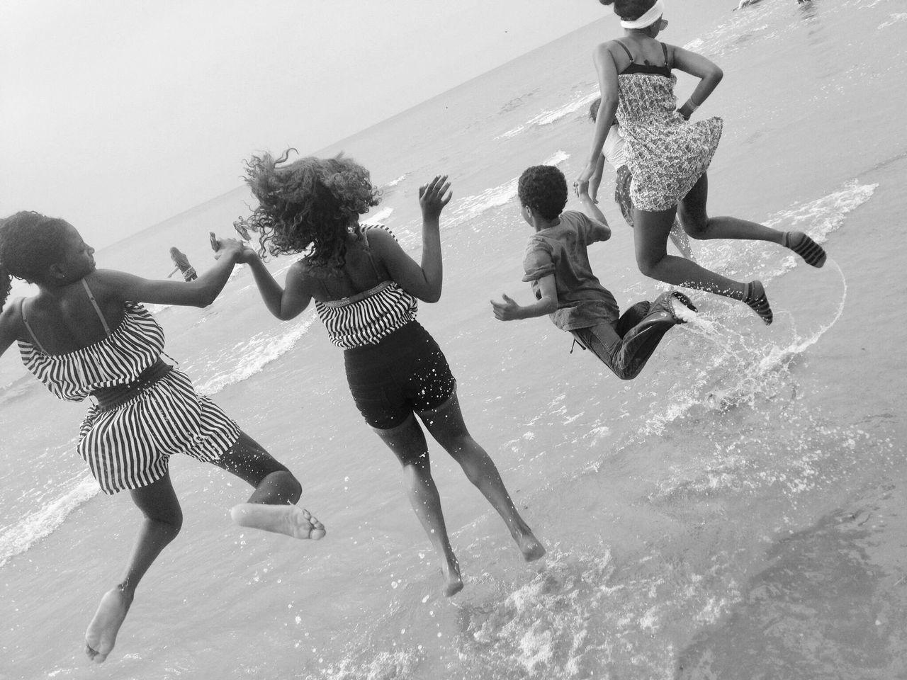 U.K. Beach Beach Fun No Sunshine Cloudy Day Warm Weather Wide Beach Family Holidays Blackandwhite Photography Sand & Sea Daytime
