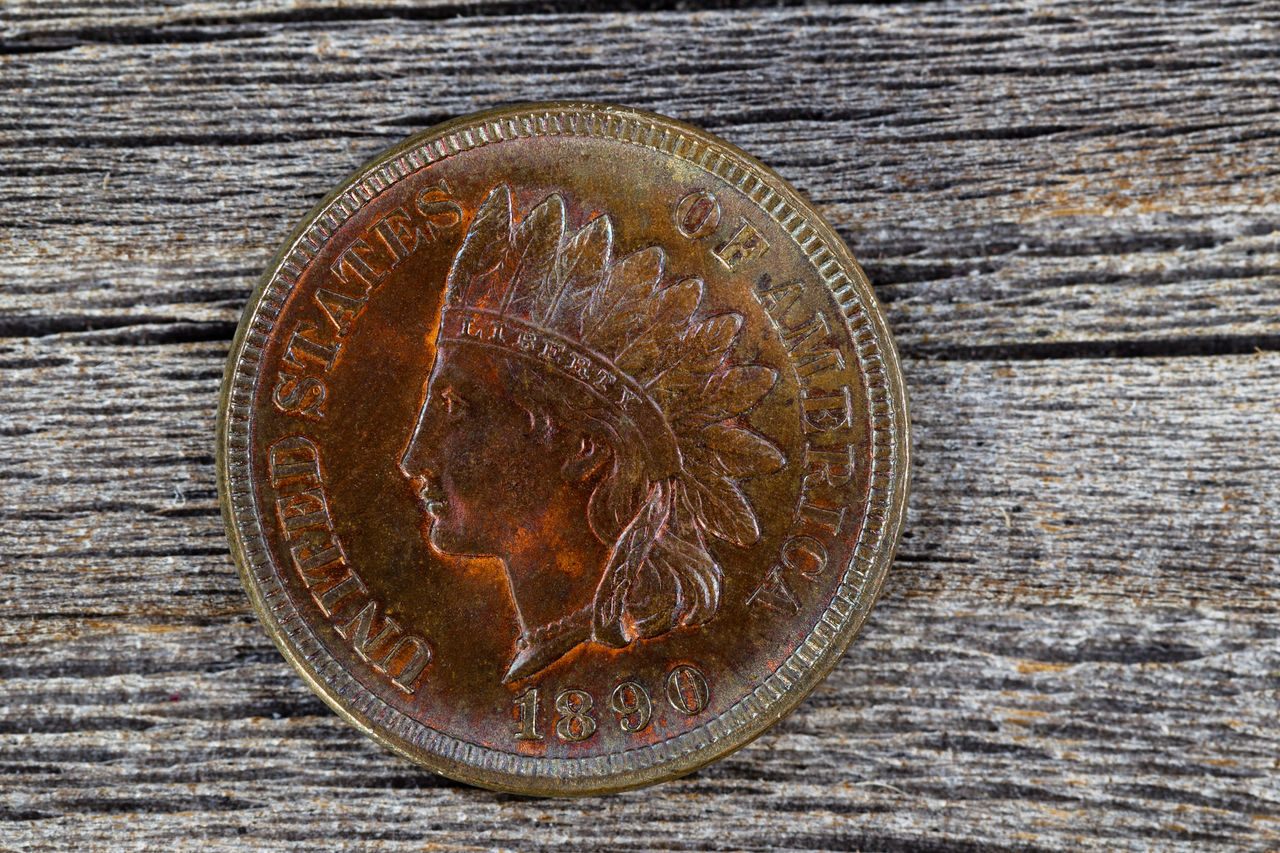 Vintage American Cent Cent Close-up Coin Collect Day Directly Above High Angle View Indian Head Money No People Outdoors Penny Rare Table Vintage Wood - Material